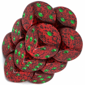 Red & Green 'Strawberry' Speckled 16mm D6 Dice Block